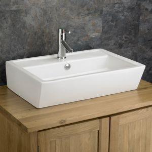 Large White Counter Top Bathroom Rectangular Sink 630mm x 430mm CREMONA