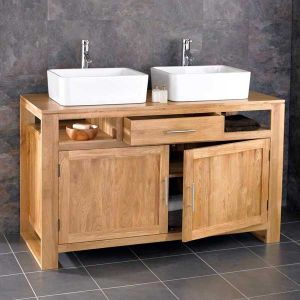 Cube Solid Oak Bathroom Cabinet With Basin