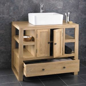 Large Bathroom Vanity Oak Cabinet With Basin Set 900mm x 550mm -Choice of Basin Sets CUBE90