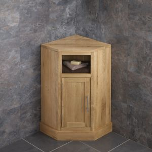 Cube Narrow Solid Oak Cabinet