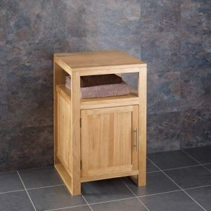 Cube Square Solid Oak Bathroom Cabinet Without Basin