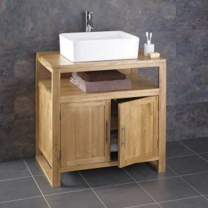 Cube Solid Oak Bathroom Washstand With Basin