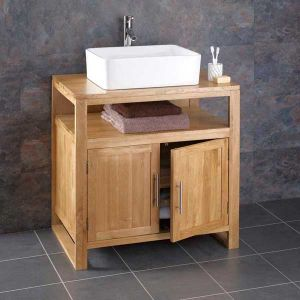 Cube Solid Oak Bathroom Washstand With Basin