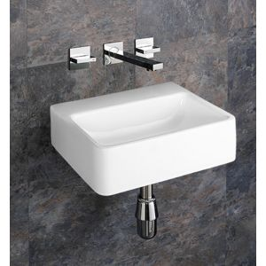Wall Hung No Tap Hole Rectangular White Basin 400mm x 300mm ELANA