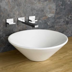 Freestanding White Round Family Bathroom Basin 420mm Diameter FANO