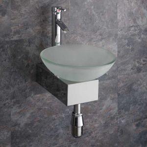 Ferrara Square Glass Basin and Aluminium Stand