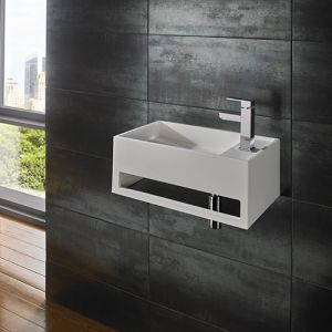 White Stone Resin Wall Hung Bathroom Basin 500mm x 300mm FLUX
