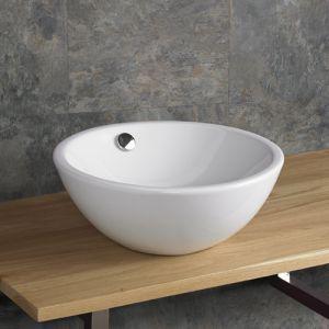 Deep Round White Ceramic Basin with Overflow 395mm Diameter FOLIGNO
