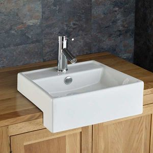 Small Semi Recessed White Counter Cloakroom Sink 390mm Square GANDRA
