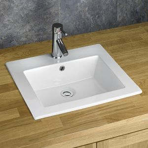 Large Self Rimming Rectangle White Bathroom Basin 510mm x 430mm GARD