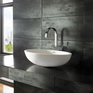 Oval Stone Resin Pure White Countertop Basin 600mm x 350mm KURO