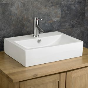 Above Counter Large Rectangle White Bathroom Sink 550mm x 400mm LAMEZIA