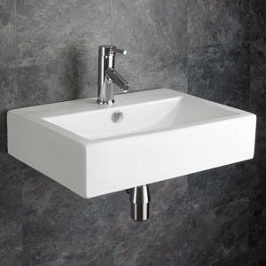 Wall Hung Large Rectangular White Bathroom Basin 550mm x 400mm LAMEZIA