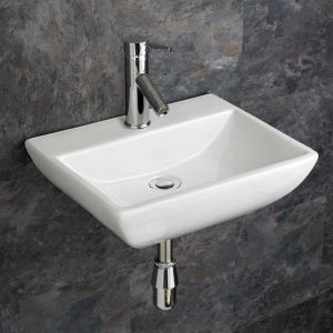 Rectangle Wall Hung White Bathroom Sink 450mm x 350mm MASSA