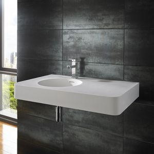 Rectangular Stone Resin White Wall Hung Sink 800mm x 480mm MAZE