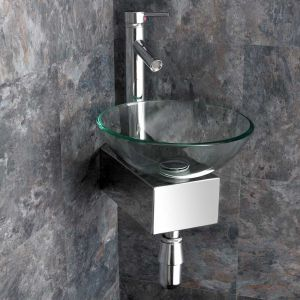 Corner Mounted Clear Glass Monza 310mm Bathroom Washbasin with Stainless Mount and Tap