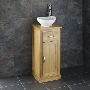 Small Freestanding Oak Hand Basin Storage Cabinet with Oval Sink Set CUBE37