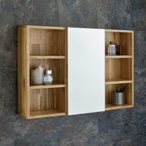 800mm Wide Solid Oak Wall Mounted Single Door Bathroom Mirror Cabinet With Side Shelves