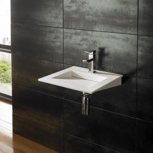Wall Hung White Stone Resin Modern Square Bathroom Basin 400mm NERO