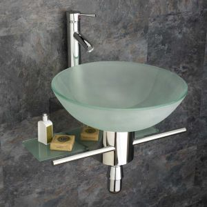 Frosted Round 420mm Glass Padova Wall Mounted Bathroom Washbasin with Mount and Tap
