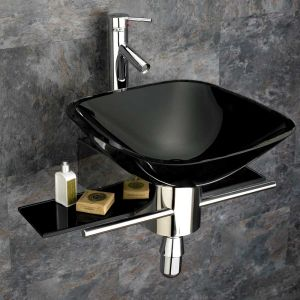 420mm Square Black Padova Glass Wall Mounted Bathroom Basin inc Stainless Steel Shelf Mounting Set