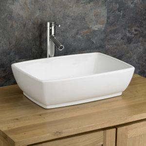 Large White Rectangular Bathroom Countertop Basin 480mm x 350mm PALERMO