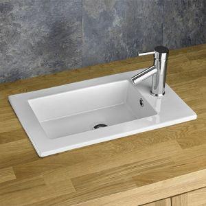 Rectangular Recessed White Inset Bathroom Basin 560mm x 340mm PARLA