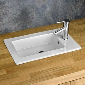 Rectangular Recessed White Inset Bathroom Basin 560mm x 340mm PARLA
