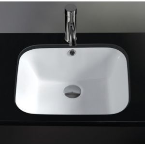 Rectangle White Undermount Ceramic Bathroom Basin 520mm x 390mm PISA