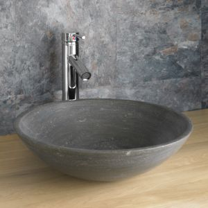 Above Counter Round Black Stone Bathroom Sink Bowl 400mm PORTICI