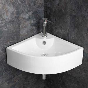 Corner Wall Mounted Large White Ceramic Bathroom Sink 660mm PRATO