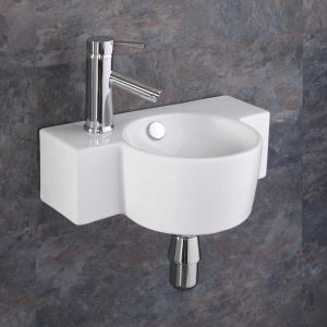 Space Saving Wall Hung Small Cloakroom Basin 400mm x 280mm RAGUSO