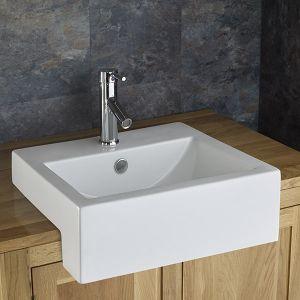 Semi Recessed Rectangle Washbasin Sink 540mm x 440mm VIENNA