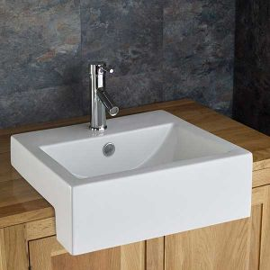 Semi Recessed Rectangle Washbasin Sink 540mm x 440mm VIENNA