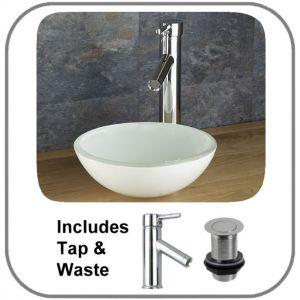 Savona White Glass Basin + Tap + Waste