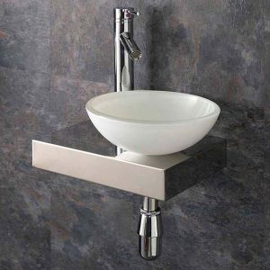 Narrow Metal Floating Shelf + Glass Bowl Set 410mm x 250mm RIGHT SAVONA
