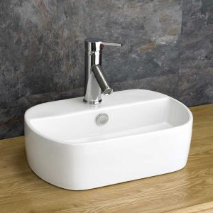 Oval Counter Top White Ceramic Hand Basin 445mm x 305mm SIENNA