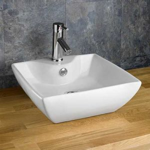 Square Above Counter Modern Ceramic Sink Washbasin 430mm SINTRA