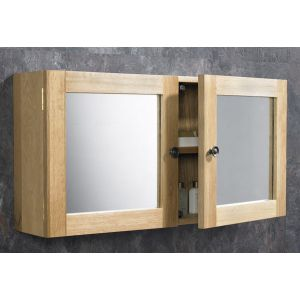 Large Solid Oak Bathroom Wall Hung Mirror Storage Cabinet  750mm x 380mm