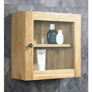 Solid Oak Single Glass Wall Cabinet
