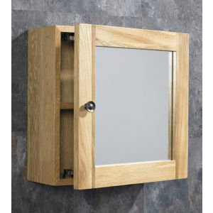 Small 380mm Square Bathroom Wall Hung Mirror Storage Cabinet Solid Oak