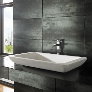 Countertop Rectangle Stone Resin Pure White Basin 800mm x 460mm SOLO