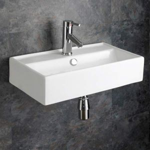 Wall Hung Family Narrow White Rectangle Sink 550mm x 320mm PERUGIA