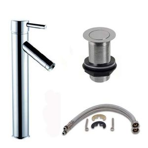 Hi Quality Chromed Bathroom Tall Tap With None Slotted Waste Set