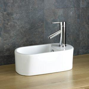 Space Saving Narrow White Cloakroom Sink 410mm x 230mm TERAMO