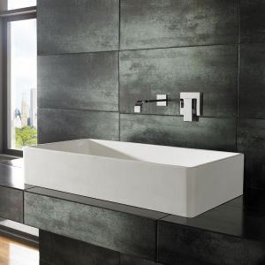 Rectangle Large White Solid Surface Countertop Basin 800mm x 400mm TORA