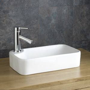 Narrow Countertop White Rectangular Bathroom Sink 440mm x 250mm TORRE