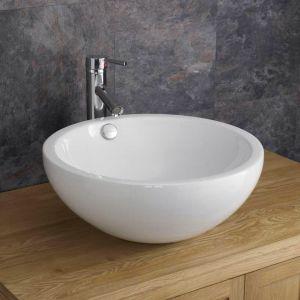 Freestanding Deep Round White Ceramic Bathroom Basin 440mm Diameter TRENTO