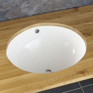 Oval Under Counter White Ceramic Bathroom Basin 430mm x 350mm SANTO