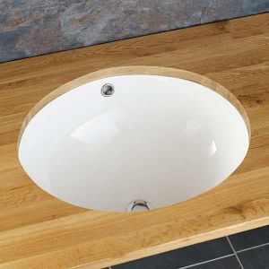 Oval Large Undercounter Inset White Bathroom Sink 510mm by 420mm CONDE